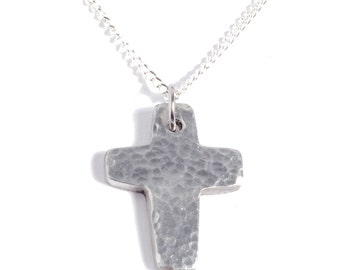 10th Anniversary Ideas Tin Cross Pendant - Hammered Effect Cast From 100% Pure Tin