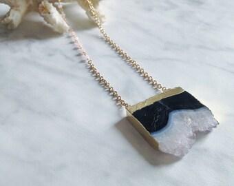 NUDE - collier sautoir - collier long chaine - collier pierre, gemmes, quartz drusy naturel - hiver - géode - pierre semi-précieuses - gypsy