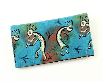 LAST ONE! Teal Kokopelli Checkbook Cover for Duplicate Checks with Pen Holder on Cotton Fabric - Great Gift for a Guy, Southwest Check Book