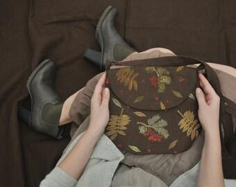 Linen small bag   Linen eco purse   Hand stamped small purse   Fabric small bag   Floral fall bag purse   Crossbody purse   Autumn purse