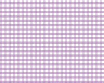 "Lavender White Medium PRINTED Gingham - Riley Blake Designs - 1/4"" Quarter Inch Purple Check - Quilting Cotton Fabric - choose your cut"