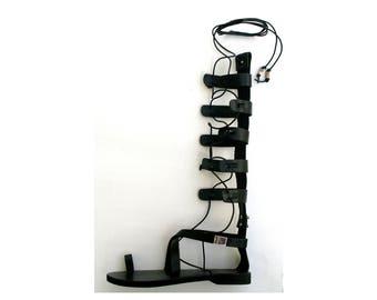 Black Leather Gladiator,Ancient Greek style Sandals , Gladiator Sandals, Knee black strap, Classic gladiator, Leather Sandals,