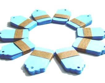 50 small Kraft Tags Die Cut - Gift Tags, Price Tags, Set of 50 Price Tags - Light Blue - 1,57 x 1 inch (4 cm x 2,5 cm)