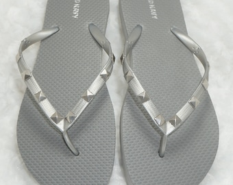 Silver Flip Flops With Silver Studs