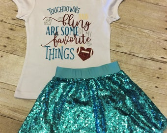 Touchdowns and Bling, baby fan gear, I love the Football, Baby Girls football outfit, Girls Football Outfit, Toddler Football, Girls Shirt