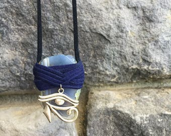 Agate Druzy Suede Wrapped Healing Crystal Necklace