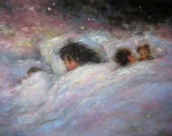Nursery Art Print, napping mother and two children, baby's room art, children's wall art, gift for mom, mother sleeping wall art,Vickie Wade