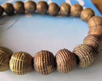 Ghana Brass Beads, 15mm, Cast Brass Grooved Bead, Ethnic Baule, African Trade Bead, Wide Opening, Tribal Handmade, 5 Pcs