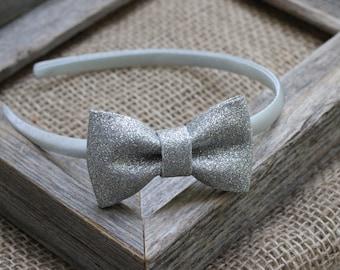 Silver hard headband silver glitter bow hard plastic headband - girls headband - toddler headband small bow