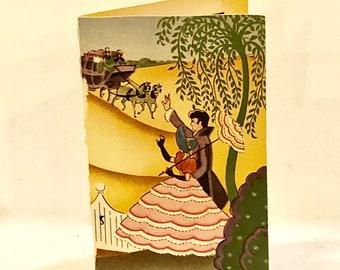 Vintage 1930s Needle Book, Art Deco Southern Belle, Horses, Willow Tree, Cottage, Sewing Ephemera,Needle Card, USA Advertising, Cream Market