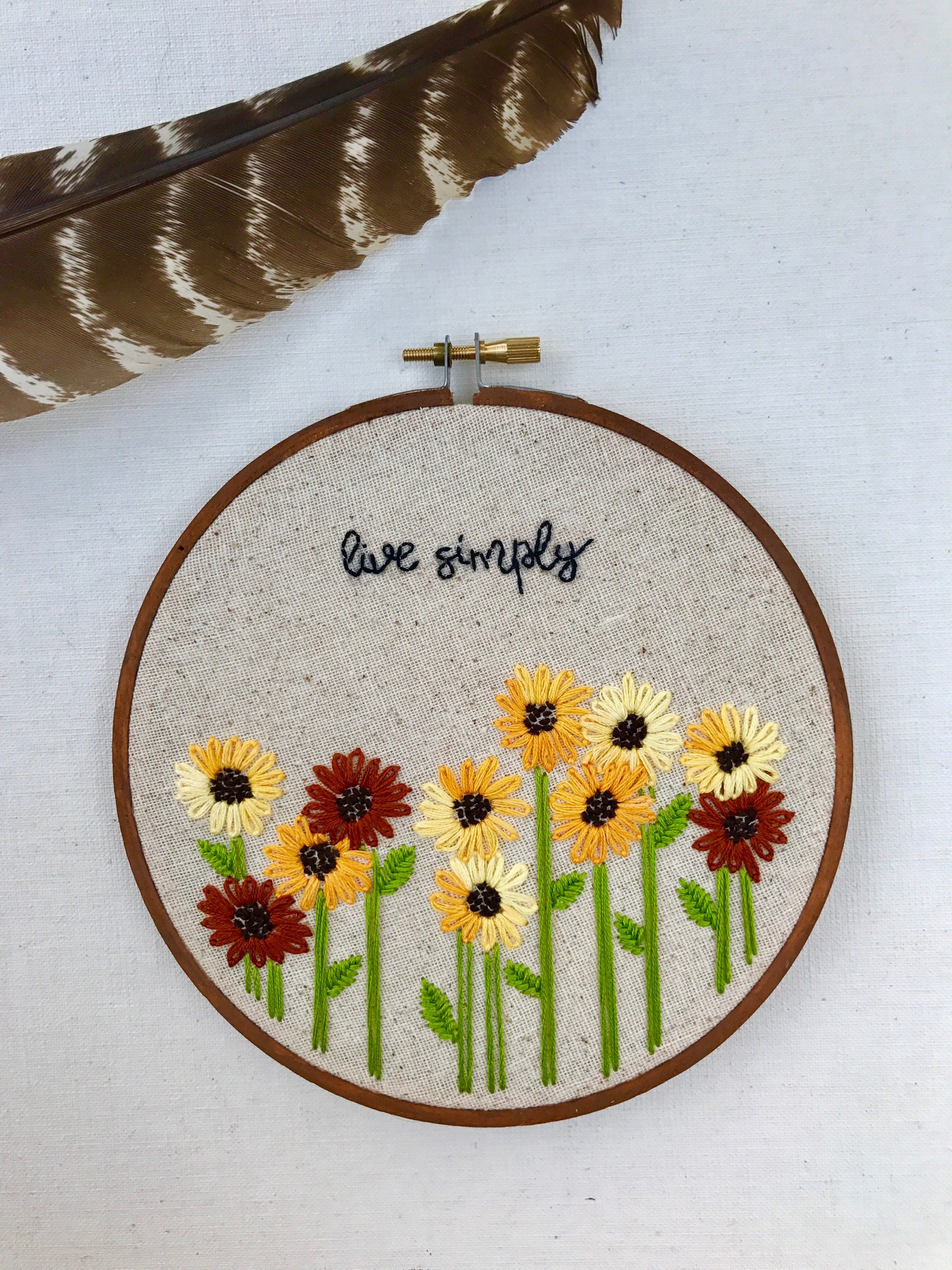Hand Embroidery Sunflowers Live Simply Art Wall