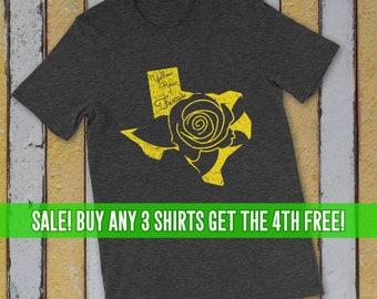Yellow Rose of Texas Shirt, Womens Texas Shirt, Texas T-Shirt, Gift for Texan, Gift for Wife, Texas Rose Shirt