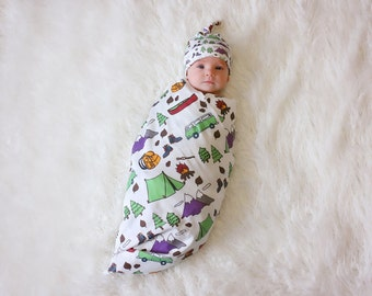 Organic Happy Camper Baby Blanket and Knotty Hat - Swaddle Blanket Camp and Hiking Themed Blanket Tent Canoe Boots Trees