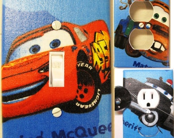 Cars on Blue Light Switch and Outlet Covers