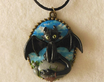 HTTYD How to Train your Dragon Toothless Cameo / Toothless Necklace / HTTYD Jewelry / Toothless Jewelry / Dragon Jewelry / Dragon Necklace