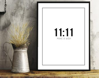 11:11 Printable Art, Make A Wish, Digital Art, Minimalist Print, Home Decor, Wall Art, Decorative Art, Black and White Print, Paper