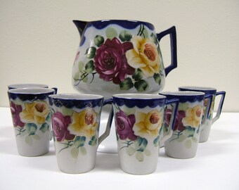 Antique Nippon Porcelain 7 Piece Lemonade Set with Roses, Cobalt Blue & Gold | Hand Painted China