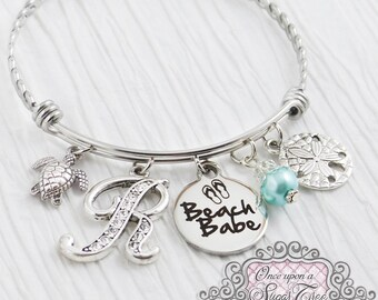 BEACH BRACELET- Beach Babe Expandable Bangle Bracelet- Sea Turtle Jewelry, Sand Dollar Bracelet- Initial Charm Bracelet- Personalized, Ocean