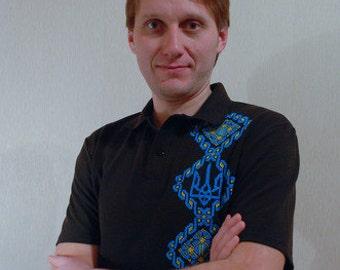 Ukrainian embroidery / Ukrainian trident / Ukrainian clothes for man / Personalized hand embroidery / Custom made t-shirts / Ukrainain gift.
