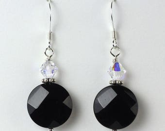 Black Onyx Drop Earrings, Silver Black Onyx Coin, Gothic Earrings, Faceted Black Onyx, Swarovski Crystal, Black Gemstone, Sterling Earwires