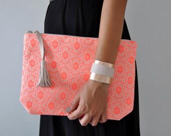 Cotton Clutch, Handbag, Boho Clutch, Cotton Handbag, Pink clutch, Clutch Bag
