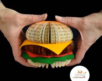 Hamburger - Cheese Burger - Burger - fast food - Takeaway - book burger - burger box - hamburger art - burger lover gift.