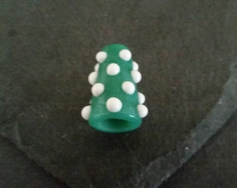 Large jade and white bead cone | handmade lampwork glass