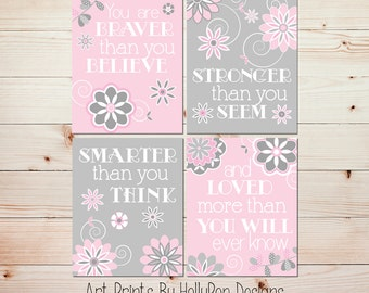 Girl wall art Pink gray baby room art Baby girl decor You are braver quote Floral girl decor Baby nursery art Girl nursery art prints #0805
