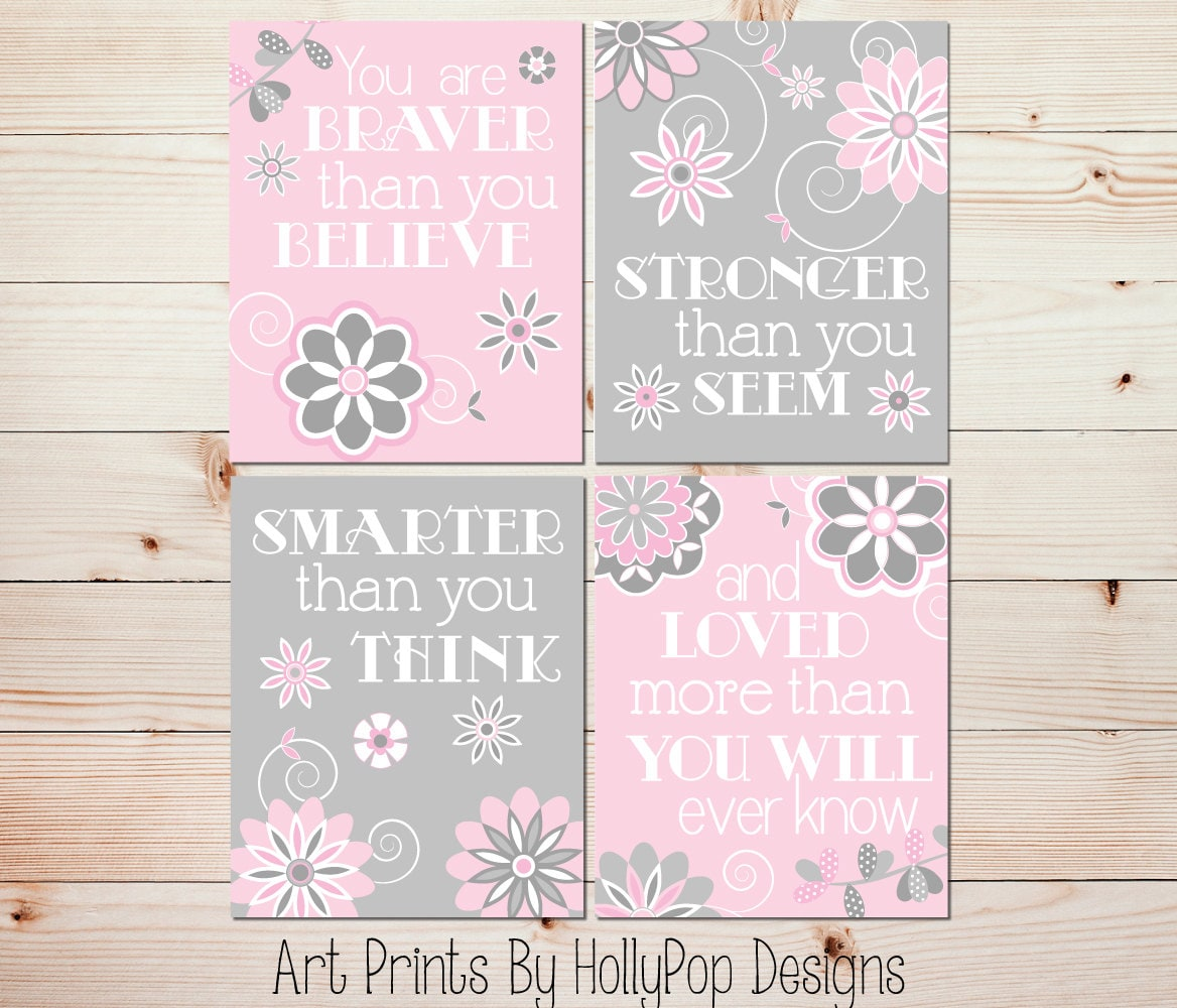 Pink And Gray Girls Baby Room: Girl Wall Art Pink Gray Baby Room Art Baby Girl Decor You Are