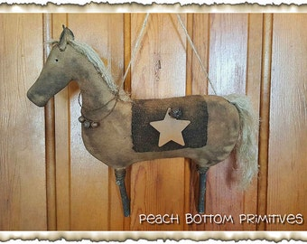 MAILED PAPER PATTERN~Primitive Grungy Horse Wall Hanger, Greeter Sewing Pattern