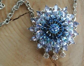 Vintage Blue Crystal Necklace, Repurposed Brooch, Light Blue and Dark Blue Crystals, Assemblage, Great Gift, One of a Kind By UPcycled Works