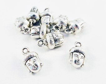 BCP30 - 2 charms antique silver 3D Buddha head Yoga Meditation Zen / 2 PCs Antiqued Silver Buddha Head Charms Pendants