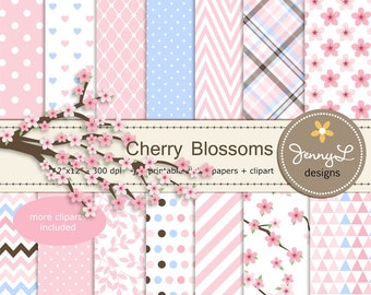 Cherry Blossoms Digital Paper and Clipart, Japanese Sakura for Wedding, Bridal Baby Shower, Birthday Party, Digital Scrapbooking,