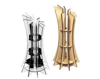 "Large design vase ""Slicy"" - wood, Transparent plexiglas"