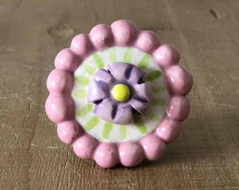 Flower Knobs, Drawer Pulls, Pink and Lavender, Dresser Drawer Knobs, Knob Pull Handle, Ceramic Knobs, Girl's Bedroom Knobs, Desk Knobs Pulls