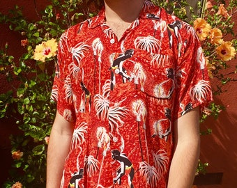 1950s Carlton Silky Rayon Spearfisher Torches Hawaiian Shirt M/L