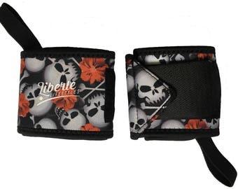 Hibiscus Skull Print Wrist Wraps