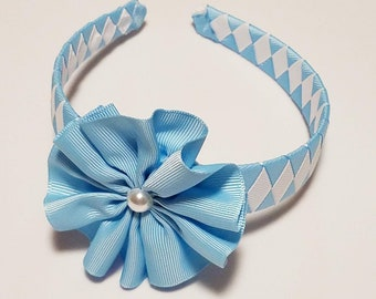Blue and White Covered Headband with Interchangeable Flowers,  Blue and White Headband, Headband for Girl, Flowergirl Headband, Wedding