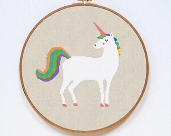 Modern Cross Stitch Pattern, Unicorn Cross Stitch Pattern, Cute Bright Unicorn Animal Counted Easy Stitch Chart, PDF Format Instant Download