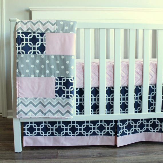 Baby Girl Crib Bedding Set Navy Blue Pink Gray Whale