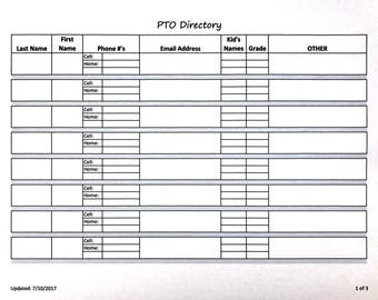 PTO (Parent/Teacher Organization) Directory - Editable Excel Form - Instant Download