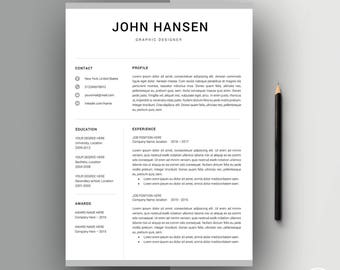 Resume Template | CV Template | Creative Resume Template for Word | 3 Pages Pack | Modern Resume Template | Resume Design | Resume ''John''