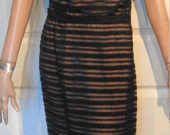 Vintage Peggy Hunt Black Illusion Striped Dress Jeweled Shoulder B40
