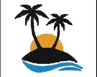 Palm Trees Vacation Embroidery Design