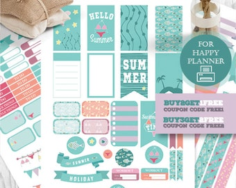 Happy Planner, Summer Stickers, Sea Planner Kit, Happy Planner Summer, Printable Summer Stickers, Weekly Kit