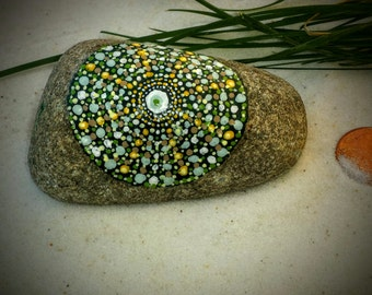 Mandala Stone, Hand Painted Rock, Handmade, Dot Painting, Multi Color, Home and Indoor Garden Decor Rock, Zen, Meditative Art, Green, Yellow