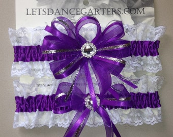 Royal Purple Bridal Wedding Garter Set  a Keepsake n Toss Garters