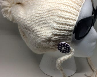 Slouchy Hat, Knit Pom Pom Hat with Ties and Buttons, Slouchy Winter Hat in Cream,Winter Hat