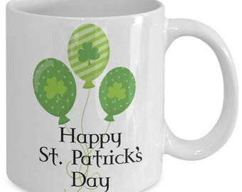 Happy St. Patrick's Day Mug Irish Gift Green Shamrock Balloons