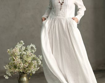 White Dress, Maxi Dress, White Linen Dress, White Prom Dress, White Wedding Dress, Long White Dress, Pleated Waist Pintuck Dress, Evening